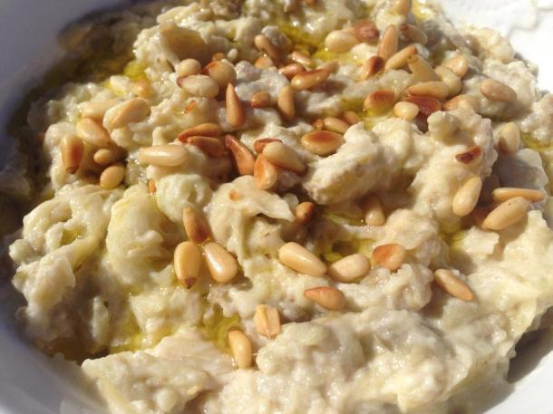 Baba ghannouj with yoghurt and pine nuts