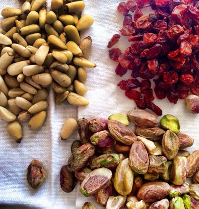 Barberries, pinenuts and pistachios