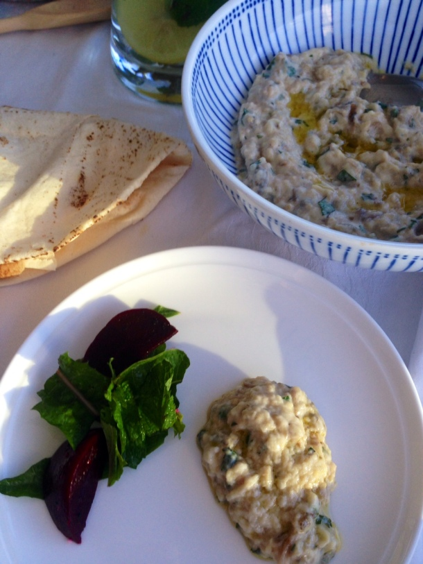 Eggplant dip with yoghurt and fresh mint