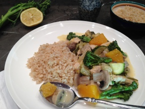 Creamy lemon chicken with leek, pumpkin and broccolini