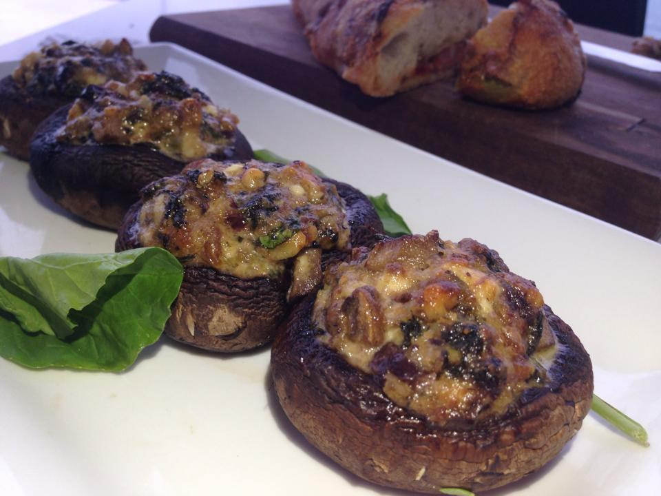 Stuffed mushrooms with walnut, feta and olives. | Poem and Dish