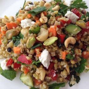 Freekeh salad with macadamia, barberries and feta