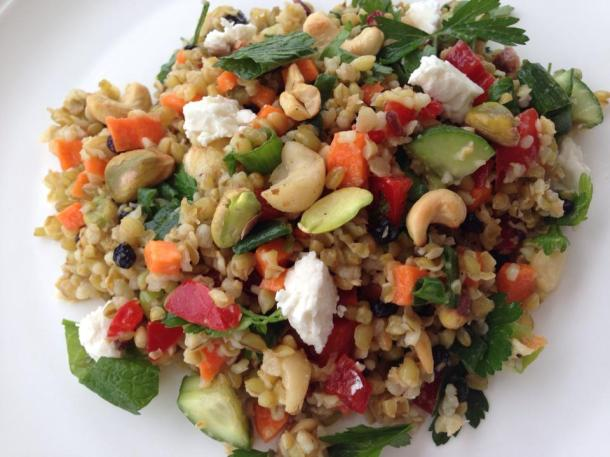 Freekeh salad with macadamia and feta
