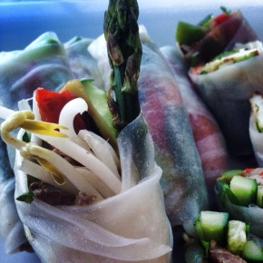 Mediterranean style rice paper rolls with grilled asparagus and haloumi