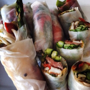 Mediterranean style rice paper rolls.