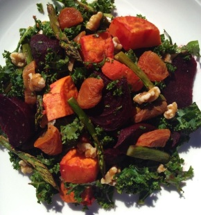 Kale, sun dried apricots, walnuts, asparagus and beetroot salad