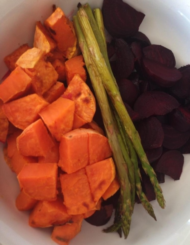 Grilled sweet potatoes, asparagus and beetroot