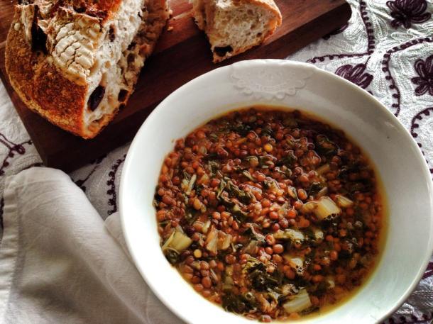 Silverbeet. lemon and lentil soup