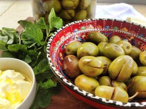 Home-made pickled olives