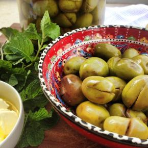 Home-made pickled olives