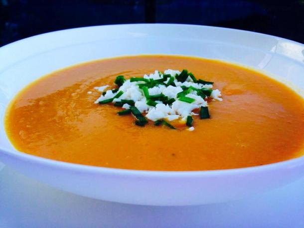 Pumpkin, carrot and lentil soup