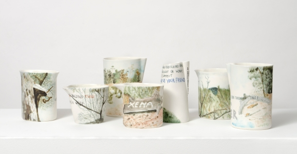 On the Mountain, poetry on hand-painted porcelain vessels.