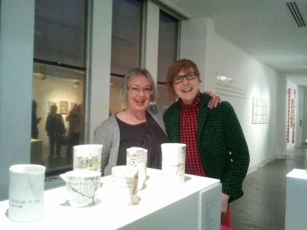 Sarah with Patsy with On the Mountain, tpoetry on hand-painted porcelain vessels at Craft ACT