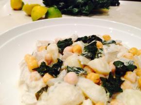 Silverbeet, potato and chickpea salad with tahini and lemondressing