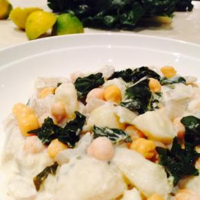 Silverbeet, potato and chickpea salad with tahini and lemon dressing