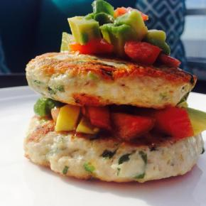 Chicken, quinoa and feta patties with avocado and tomato salsa