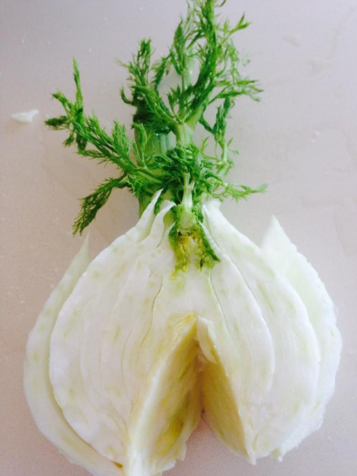 Fennel bulb, tough core removed