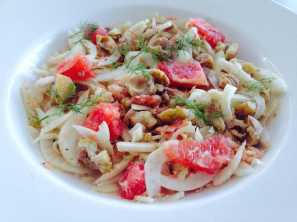 Fennel, pink grapefruit, chestnut and shanklish salad