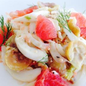 Fennel, pink grapefruit, chestnut and shanklishsalad