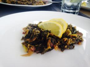 Lebanese curly endive stir fry with lemon, Hindbeh bi zeit