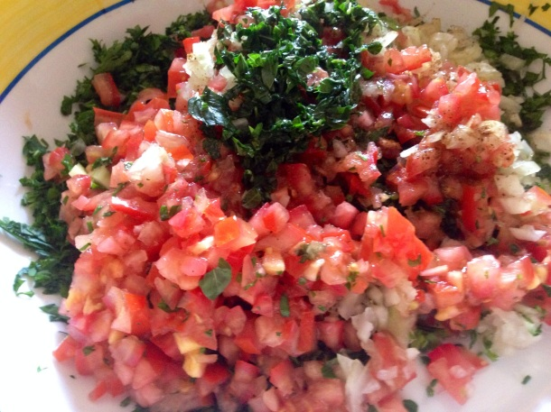 Tabouli salad about to be mixed