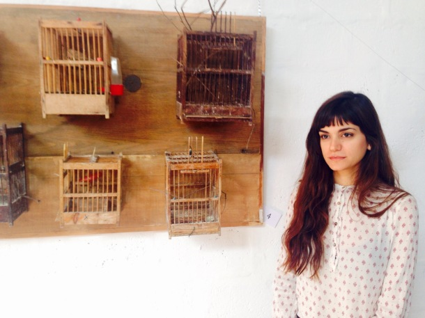 "Mirella Salame and her performative installation ""freedom and freedom""."