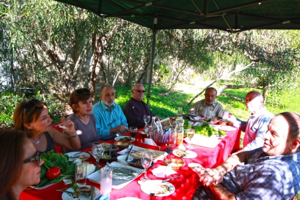 The outdoor lunch at MACAM with our hosts Cesar and Gabriele,  the panel of judges and guests. Photograph by Marlena Ayat.