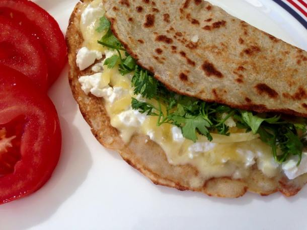 Gluten, dairy, sugar and yeast free pancake filled with feta, mozzarella and coriander.