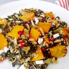 Tuscan kale, pumpkin, quinoa and barberries salad