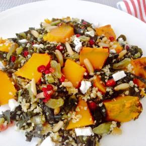 Tuscan kale, pumpkin, quinoa and barberriessalad