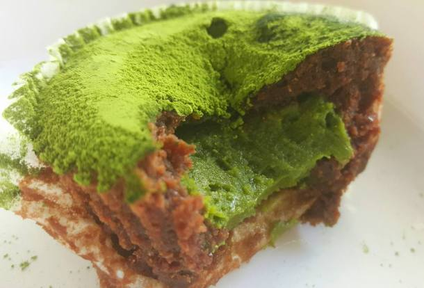 Chocolate and green-tea mousse